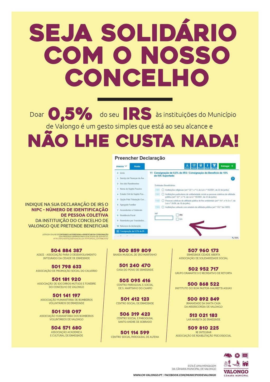 Ajude as instituições do concelho doando 0,5% do IRS